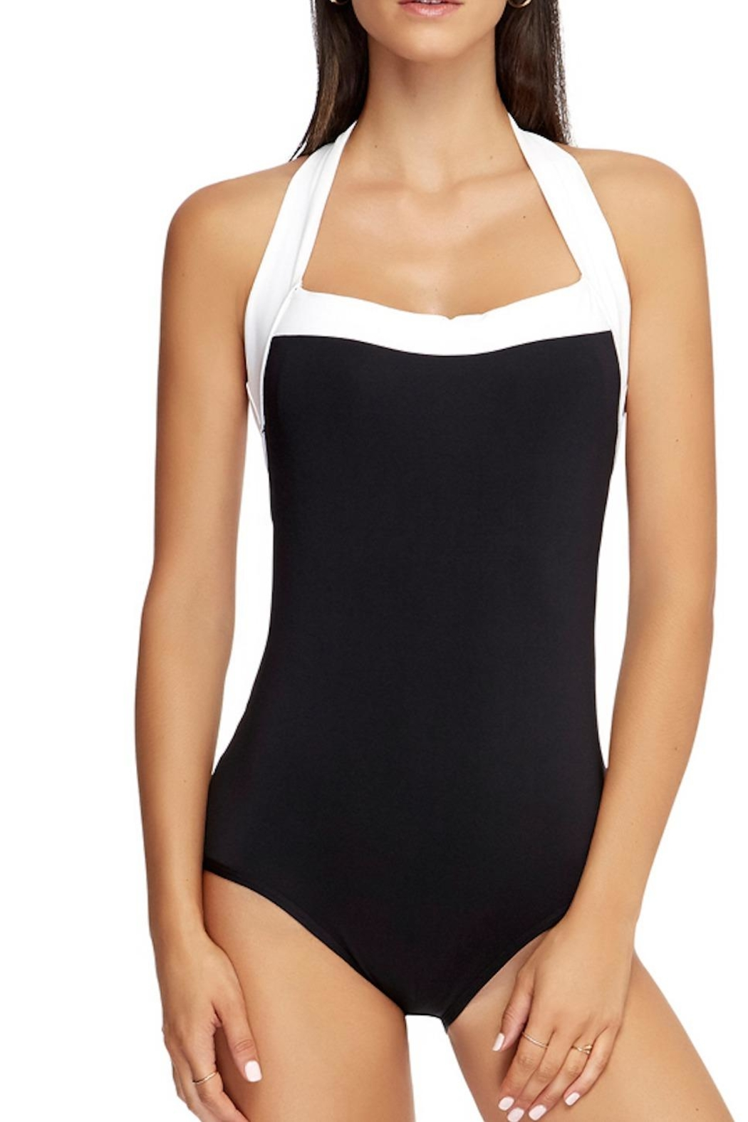 Jets by Jessika Allen Black/white Halter One-Piece - Front Full Image