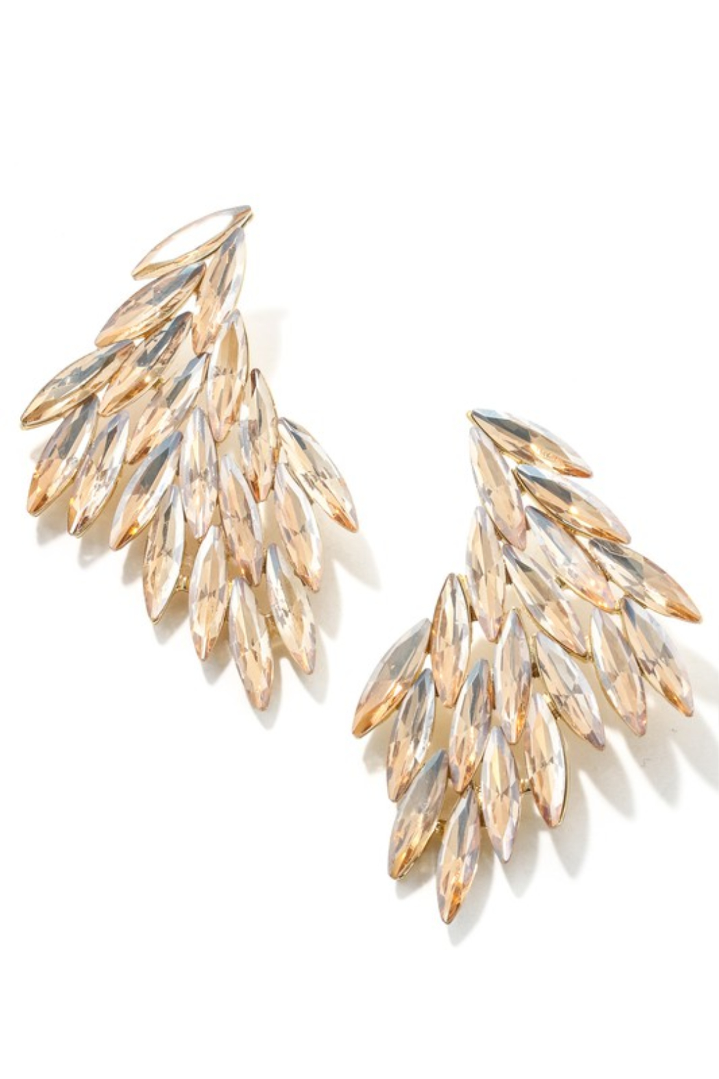 Anarchy Street Jewel Feather Drop Earrings - Front Cropped Image