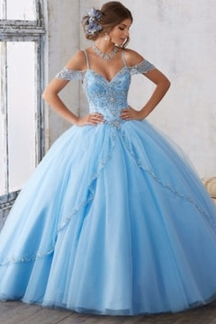 Morilee Jeweled Beading on a Split Front Tulle Ballgown - Product List Image