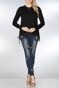 AZI Jeans Jeweled Contrast Denim Jeans - Product List Image