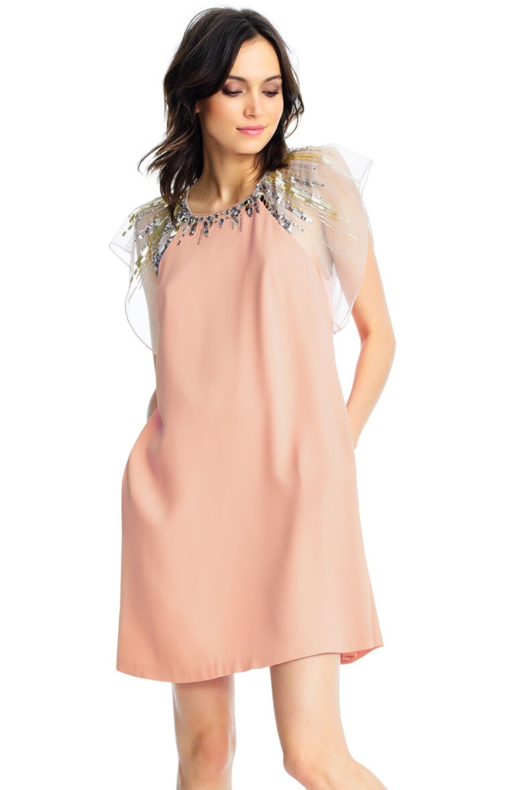 Aidan Mattox Jeweled Crepe Flutter Sleeve Dress, Peach - Front Cropped Image