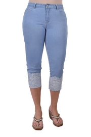 Ethyl Jeweled Lace Capri - Front cropped