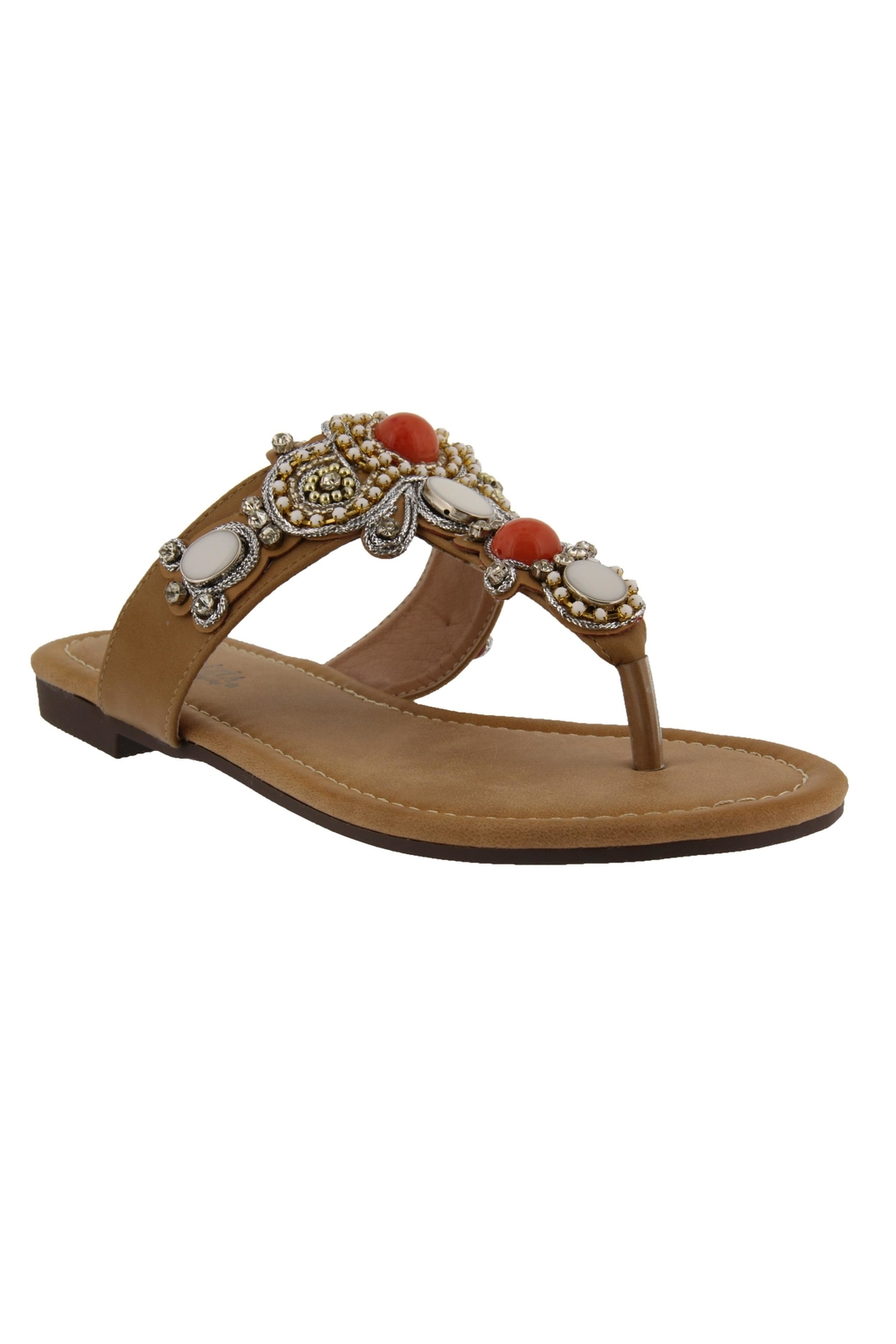 Spring Footwear Jeweled T-Strap Sandal - Main Image