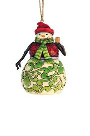 Jim Shore Red & Green Snowman Ornament - Front cropped