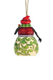 Jim Shore Red & Green Snowman Ornament - Front full body