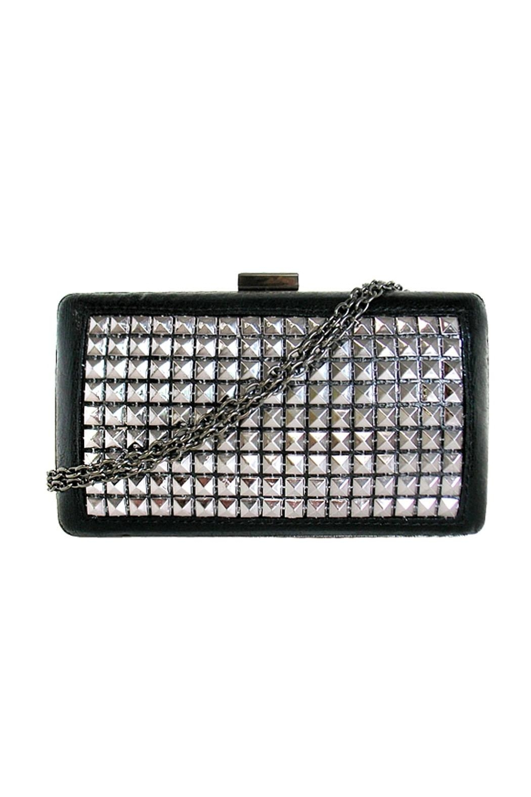 JNB Metallic Studded Clutch - Front Cropped Image