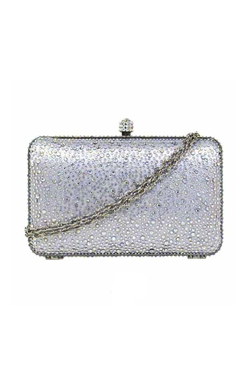 JNB Satin Crystal Clutch - Main Image