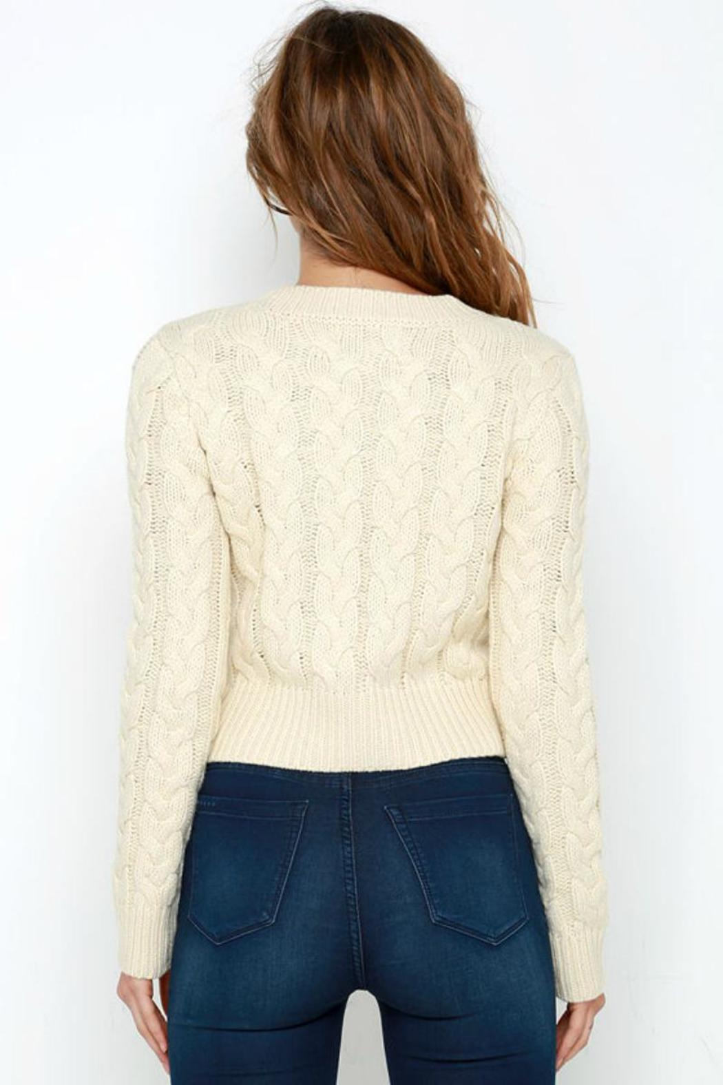 J.O.A. Cropped Cable Sweater - Front Full Image