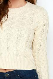 J.O.A. Cropped Cable Sweater - Back cropped