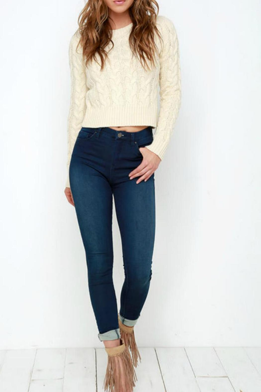 J.O.A. Cropped Cable Sweater - Front Cropped Image