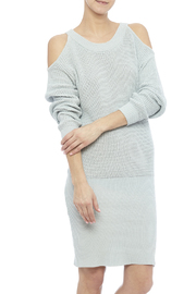 J.O.A. Cold Shoulder Sweater Dress - Front cropped