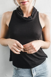 Joah Brown Cowl Neck Ribbed Tank - Front cropped