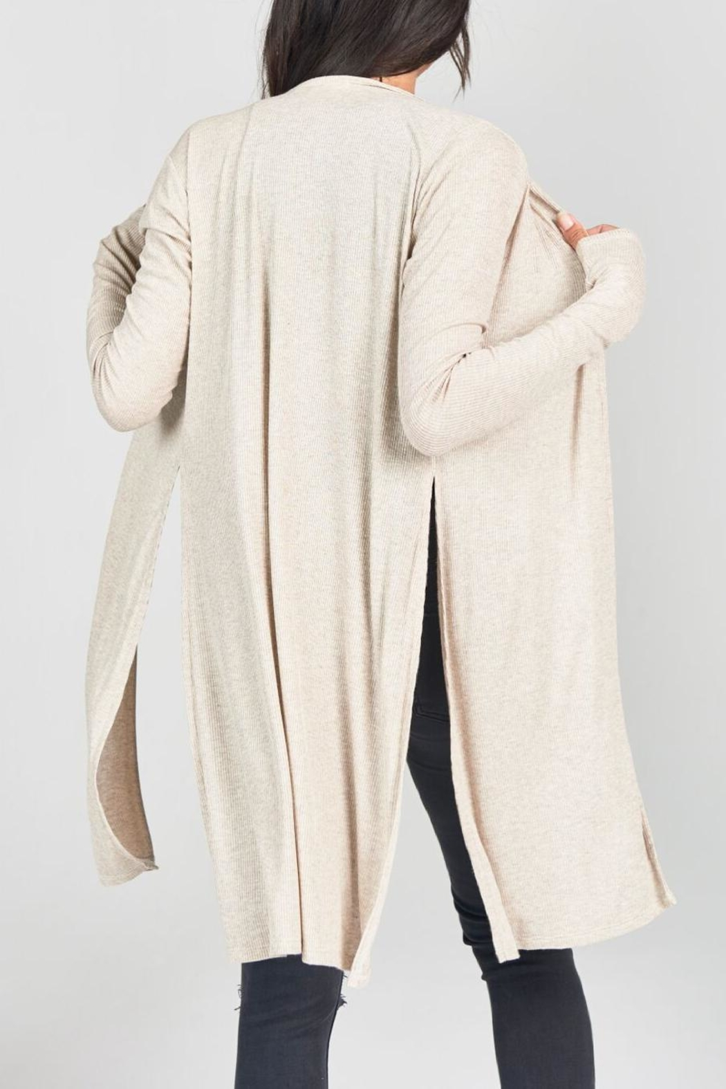 Joah Brown Long Line Open Cardigan - Side Cropped Image