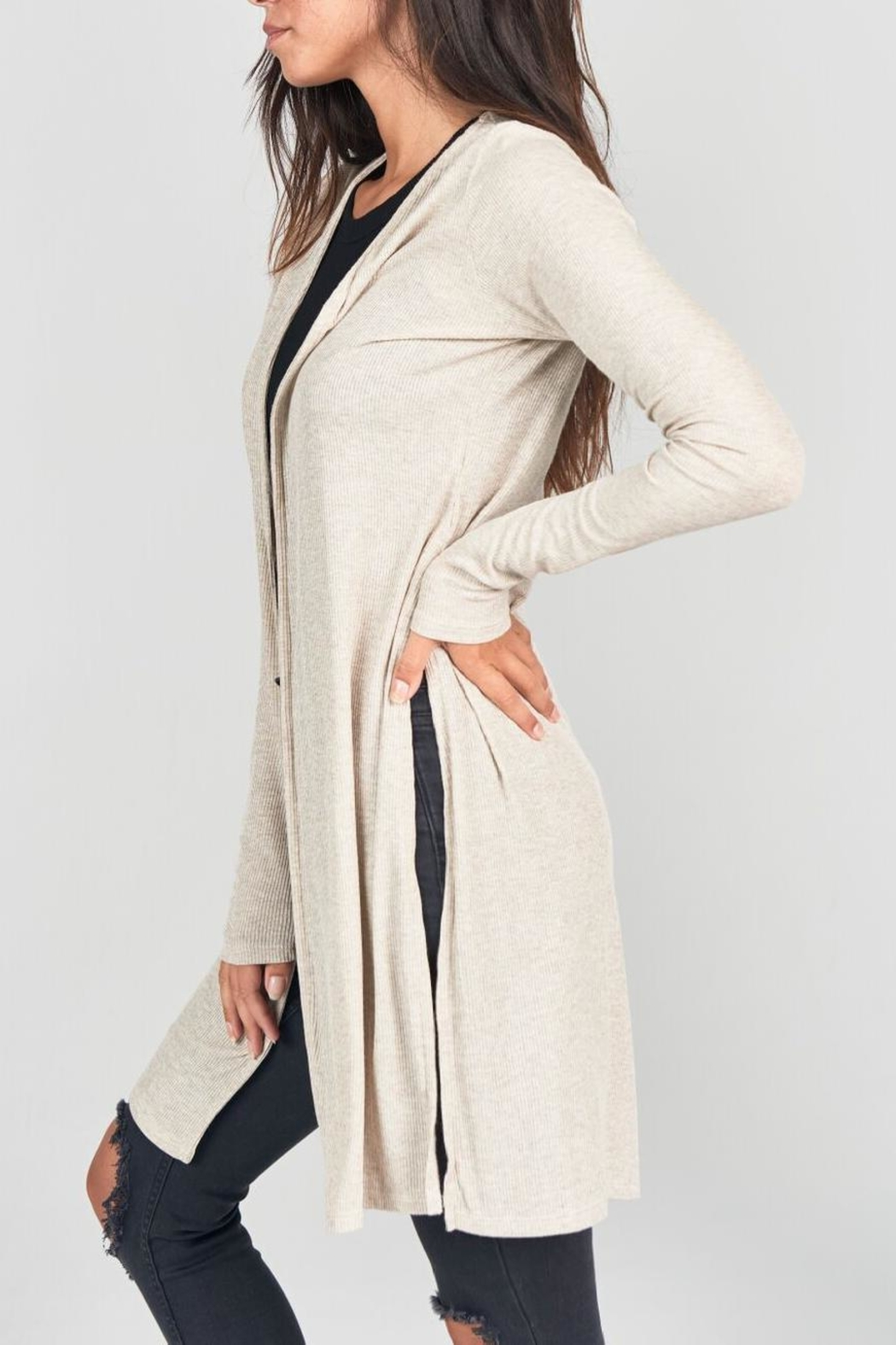 Joah Brown Long Line Open Cardigan - Front Full Image