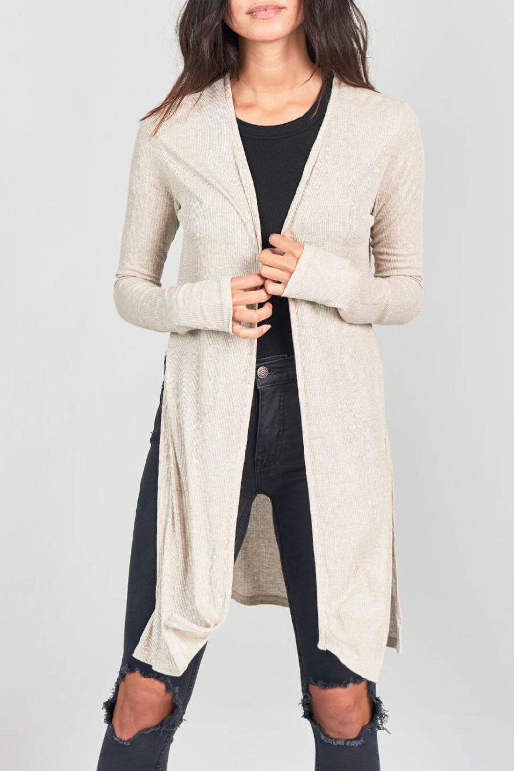 Joah Brown Long Line Open Cardigan - Front Cropped Image