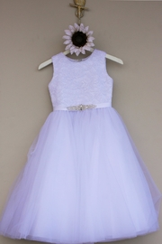 Joan Calabrese for Mon Cheri Lace Tulle Dress - Front cropped
