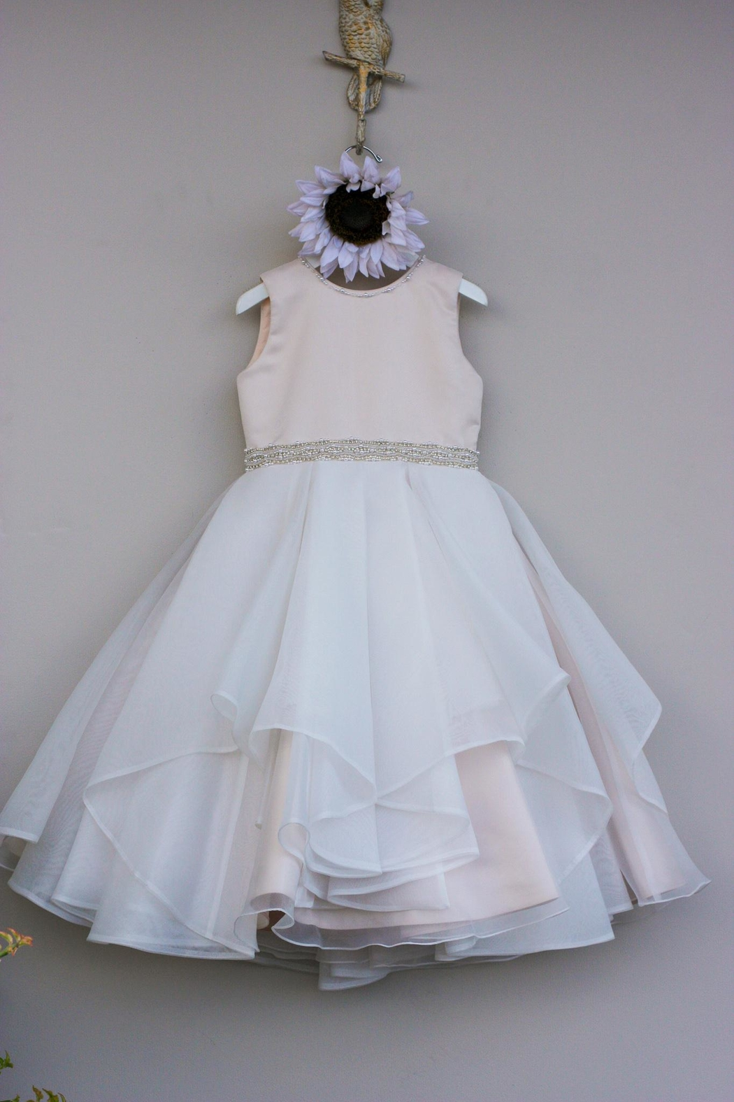 Joan Calabrese for Mon Cheri Petal Organza Dress - Front Cropped Image