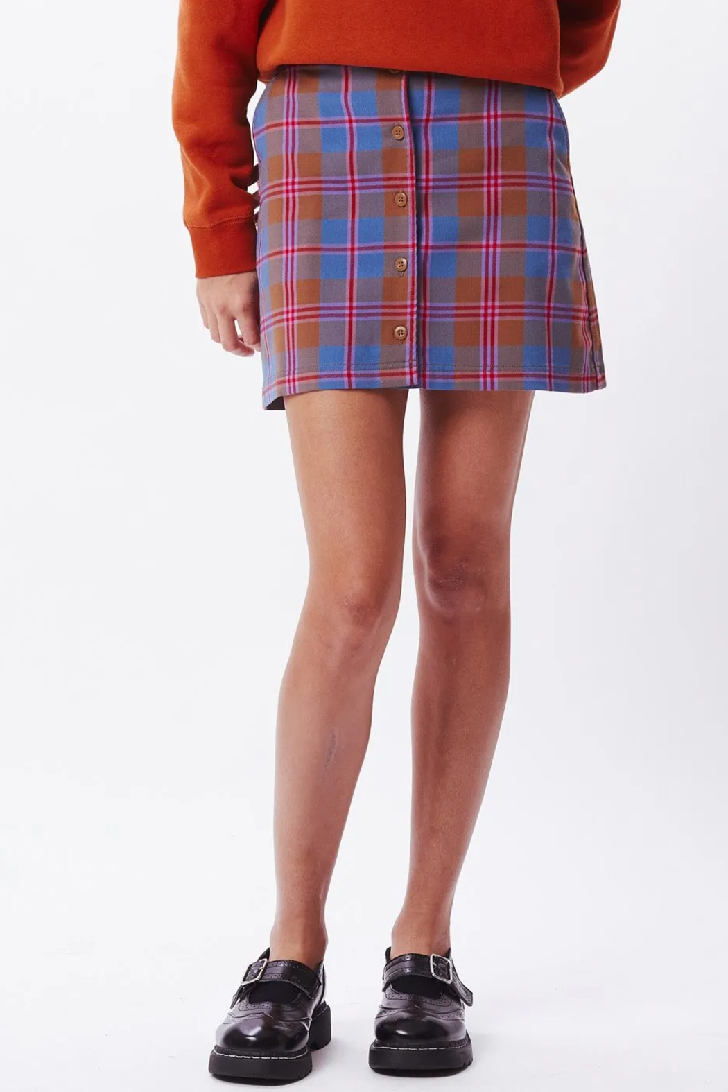 Obey Joanie Plaid Skirt - Front Cropped Image