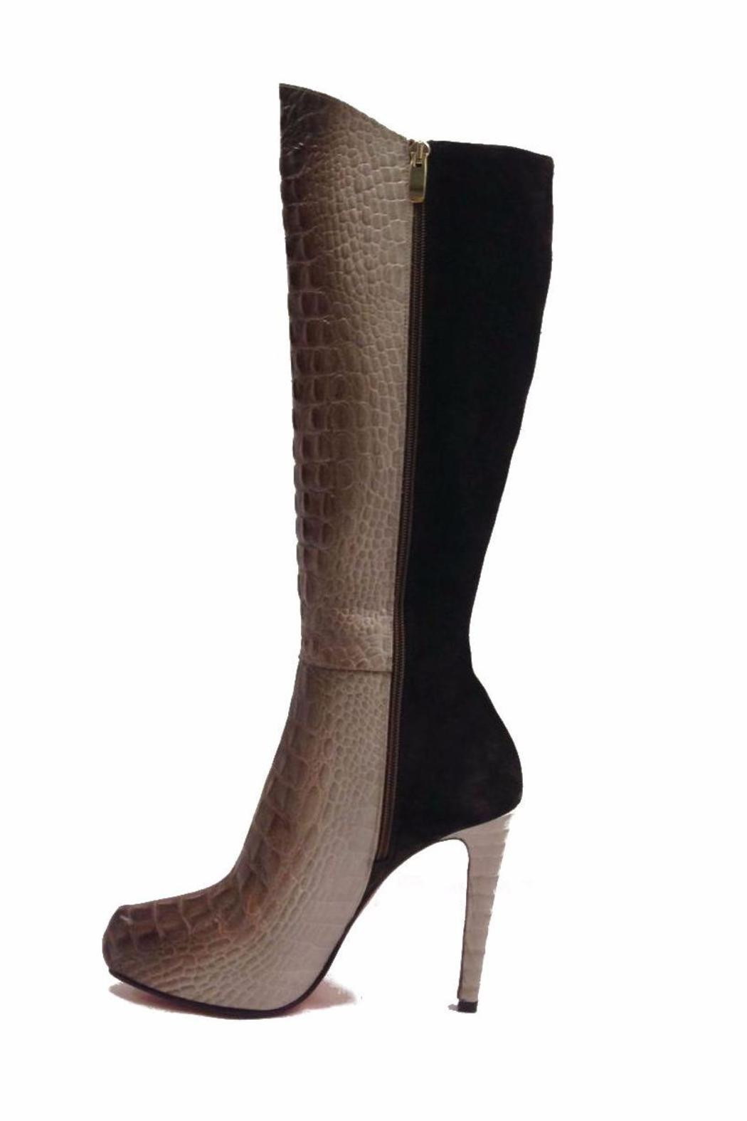 Joaquim Ferrer Croc-Embossed Long Boots - Back Cropped Image
