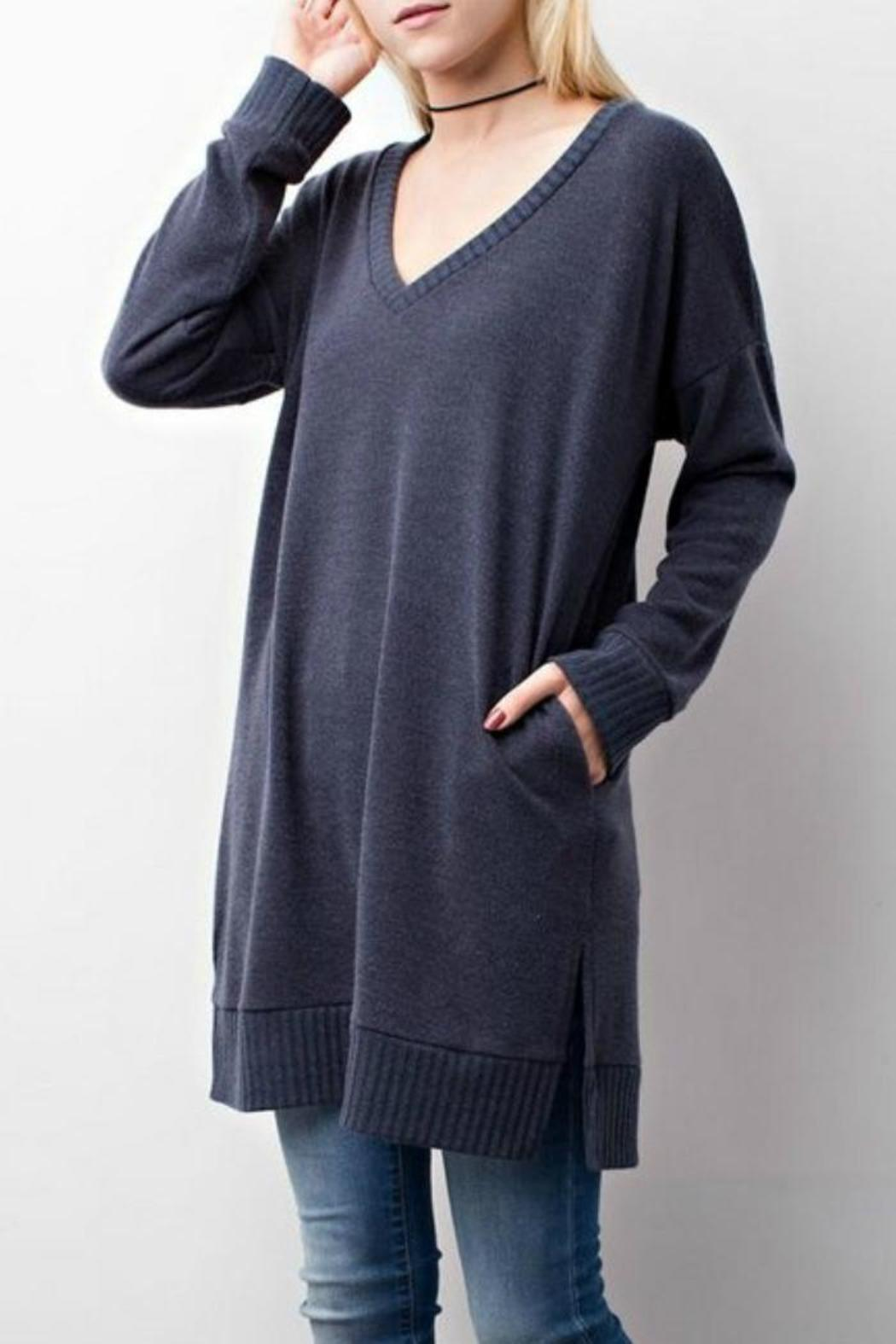 Jodifl Charcoal Sweater - Front Cropped Image