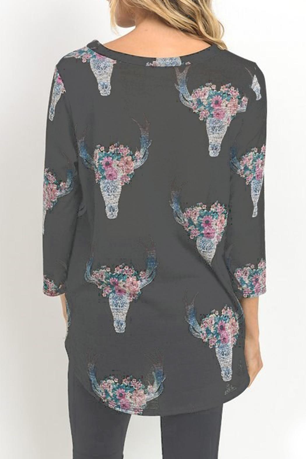 Jodifl Cow-Skull Print Top - Side Cropped Image
