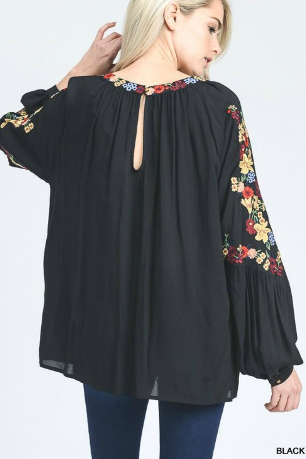 Jodifl Embroidered Bubble-Sleeves Top - Front Full Image