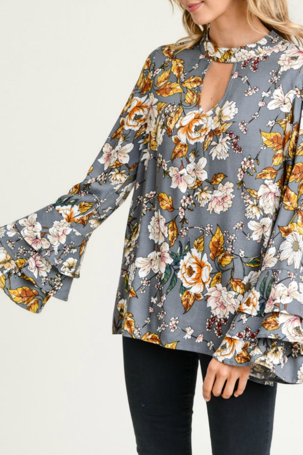a1ec4501e1241c Jodifl Floral Bell-Sleeve Top from Kansas by Seirer's Clothing ...