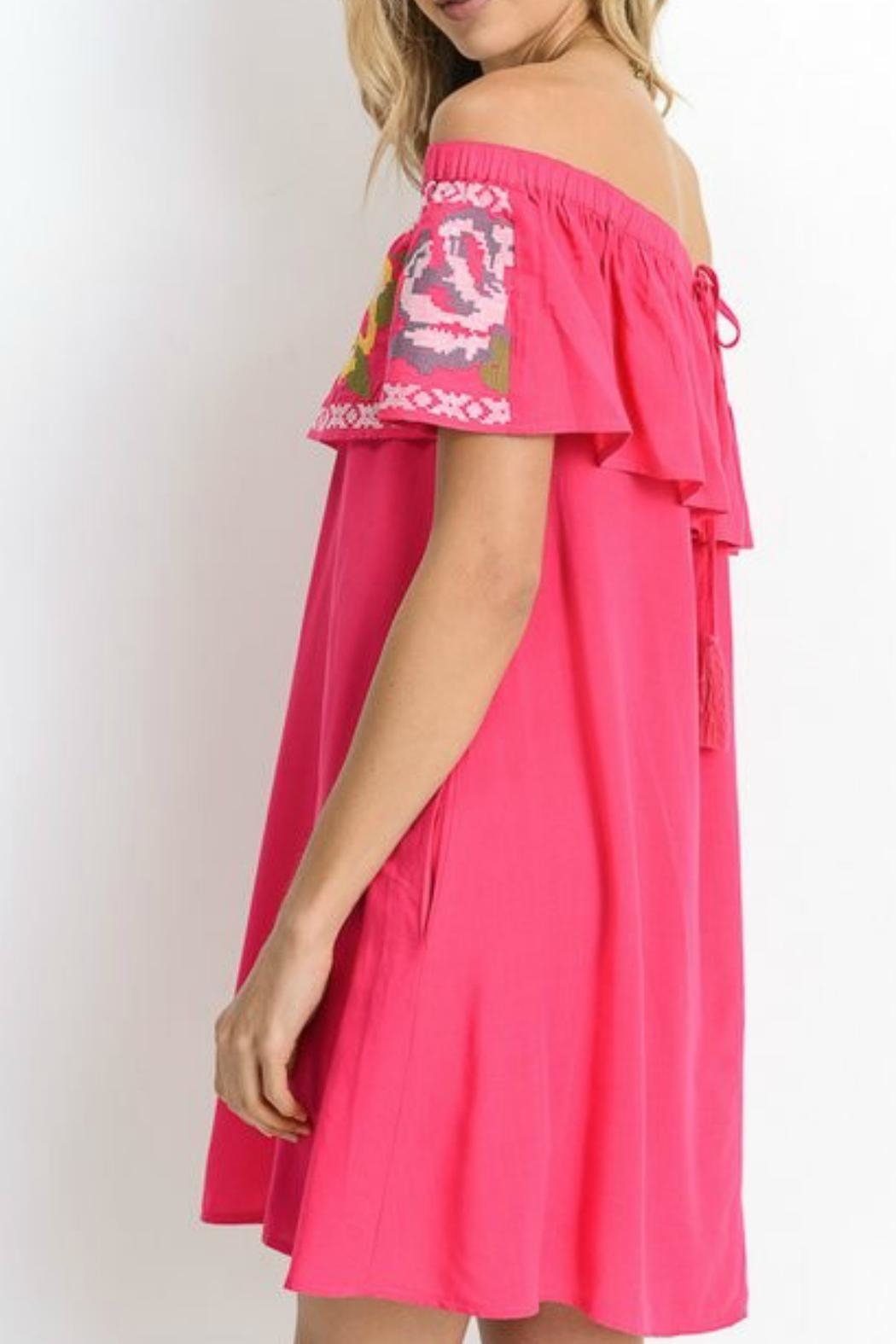 Jodifl Fuchsia Embroidered Tunic - Front Full Image