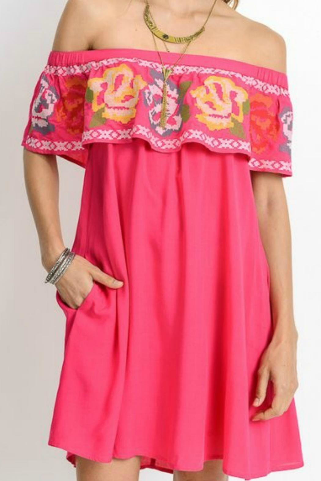Jodifl Fuchsia Embroidered Tunic - Front Cropped Image
