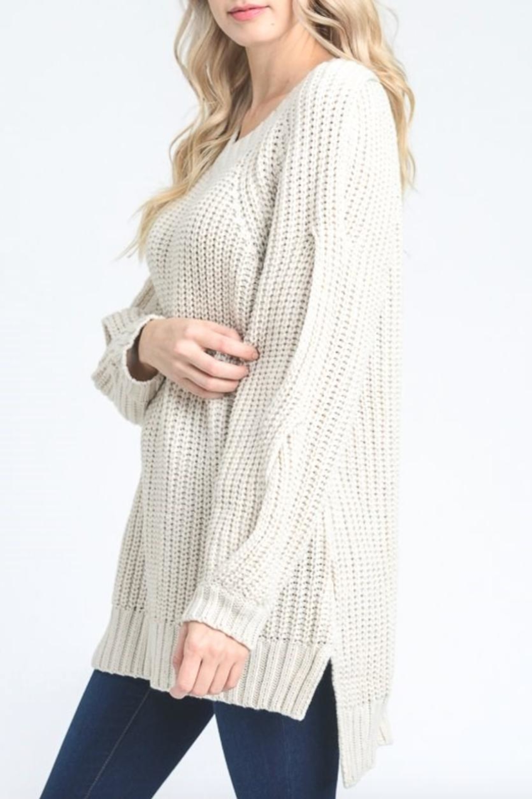 Jodifl Hidden Cold-Shoulder Sweater - Front Full Image