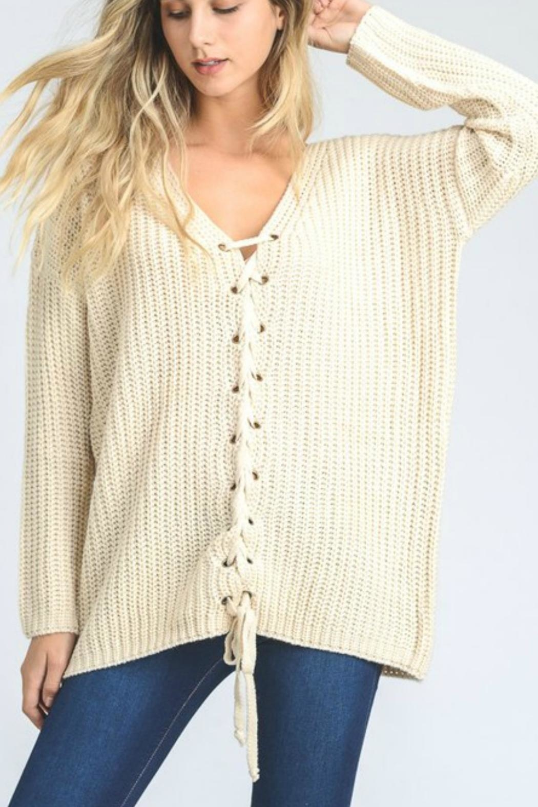 Jodifl Lace Up Sweater - Front Cropped Image
