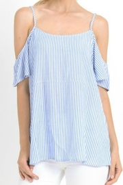 Jodifl Pinstripped Cold-Shoulders Top - Product Mini Image