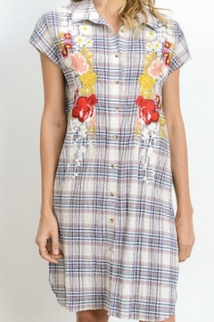 Shoptiques Product: Plaid Embroidered Tunic