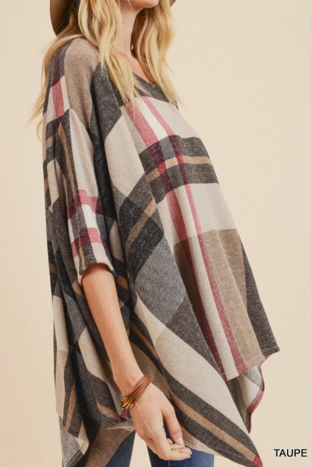 Jodifl Plaid Poncho Top - Front Full Image