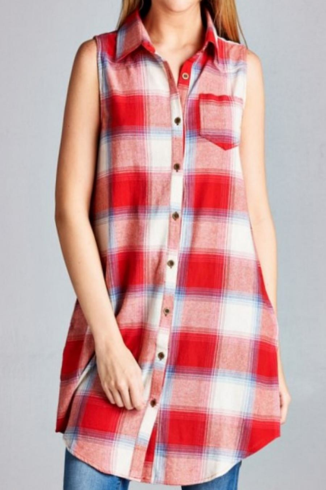 Jodifl Plaid Tunic Dress - Front Cropped Image