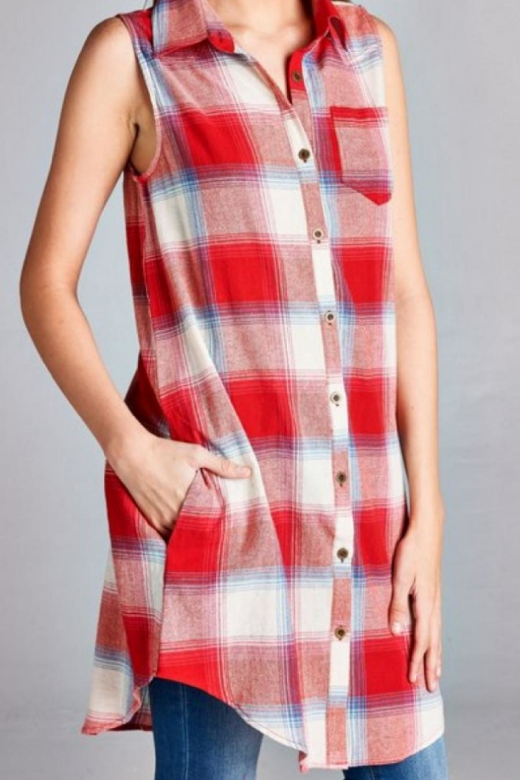 Jodifl Plaid Tunic Dress - Front Full Image