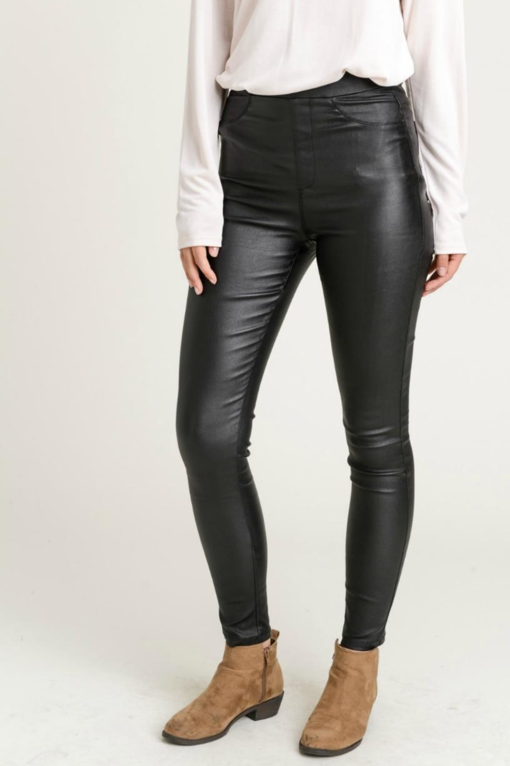 Jodifl Skinny Faux-Leather Leggings - Back Cropped Image