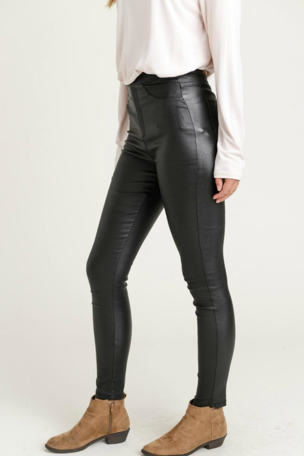 Jodifl Skinny Faux-Leather Leggings - Side Cropped Image