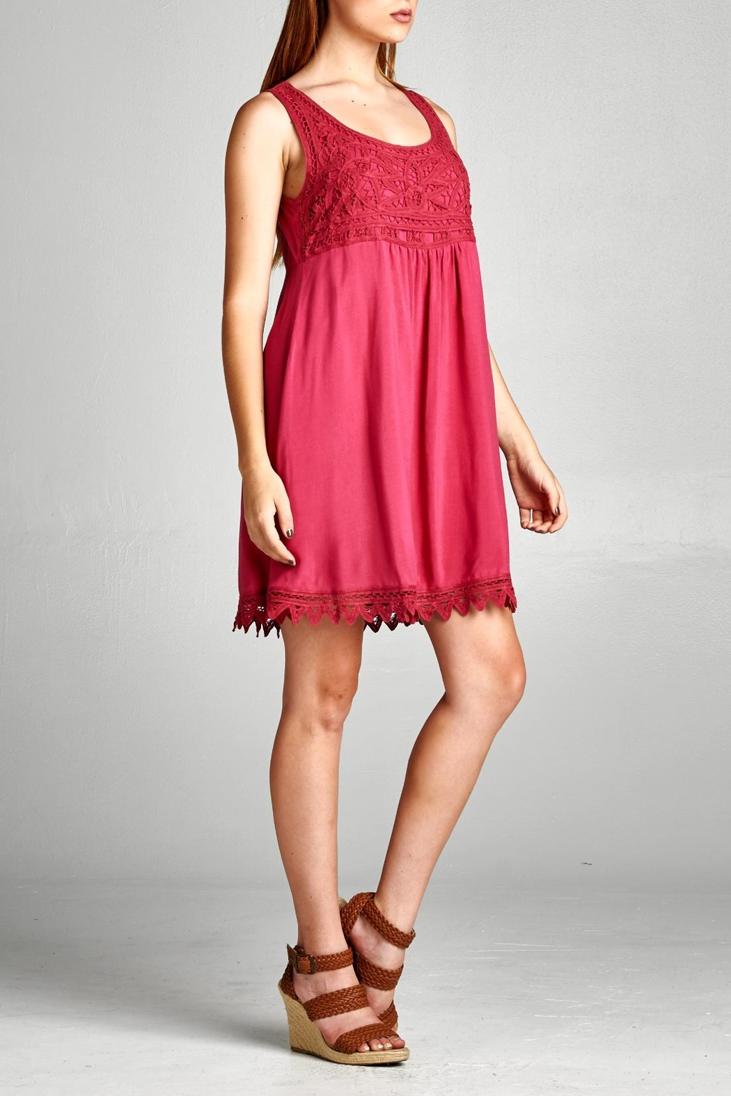 Jodifl Crimson Embroidery Dress - Back Cropped Image