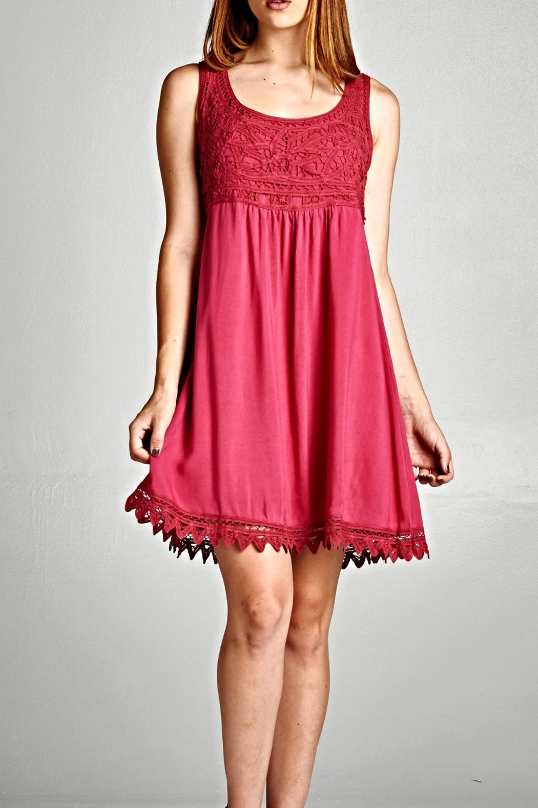 Jodifl Crimson Embroidery Dress - Front Cropped Image