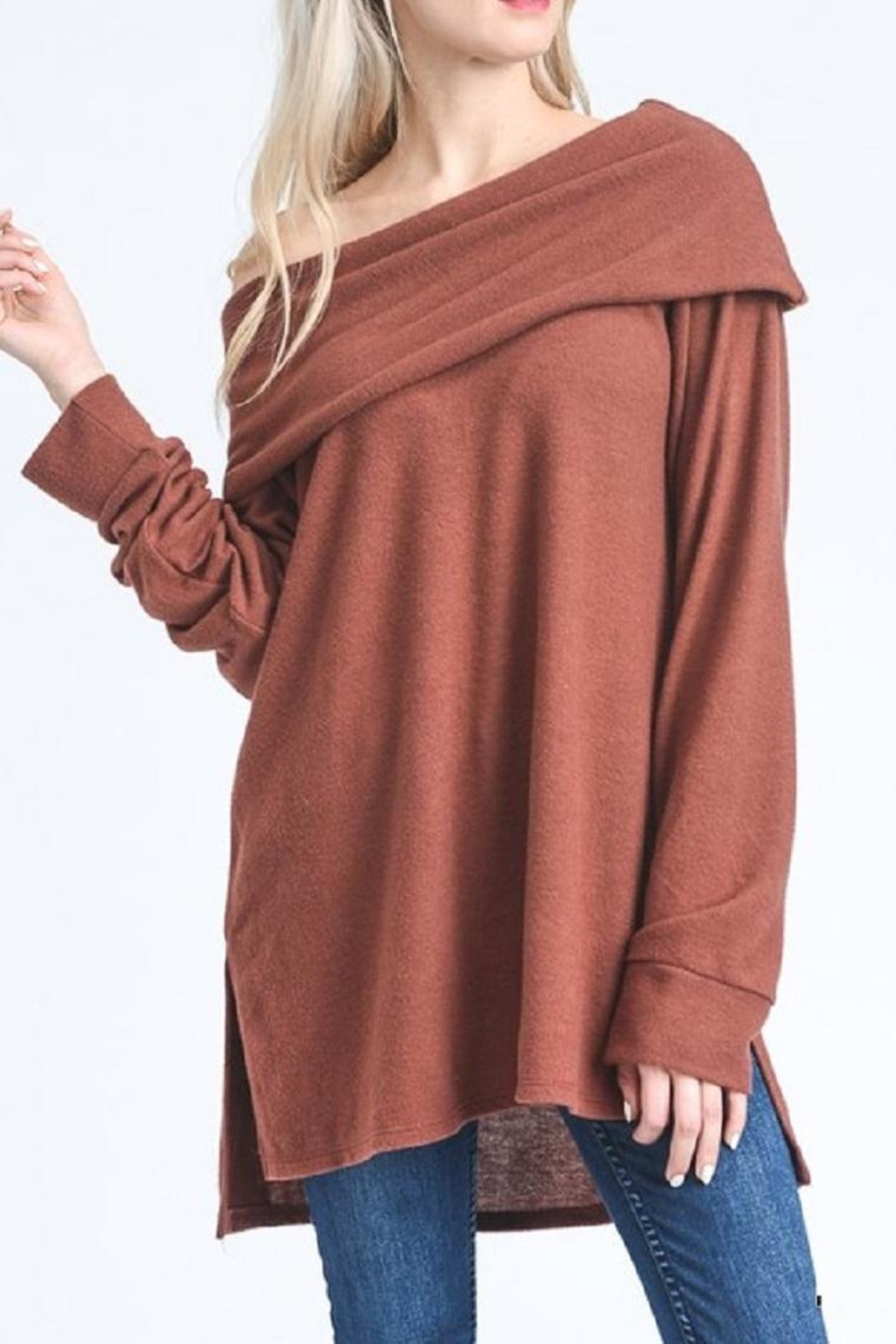 Jodifl Slouchy Off-Shoulder Sweater - Front Full Image