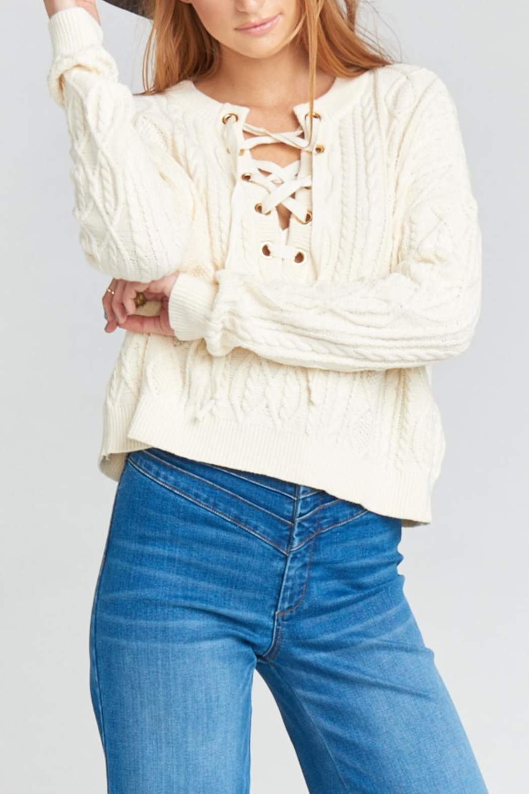 Show Me Your Mumu Joey Lace-Up Sweater - Front Full Image