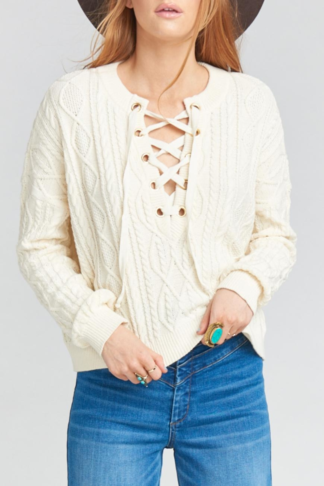Show Me Your Mumu Joey Lace-Up Sweater - Main Image
