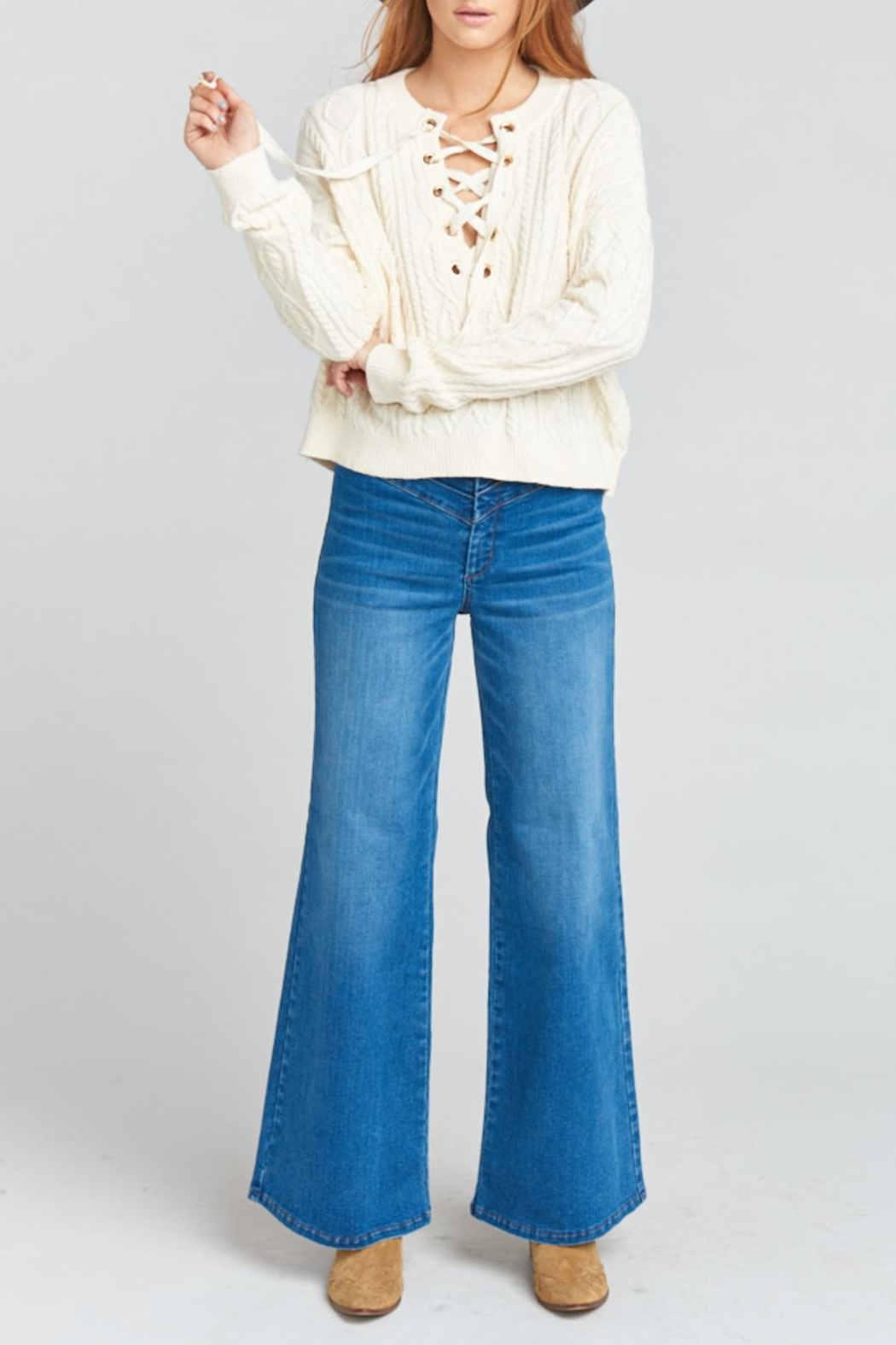 Show Me Your Mumu Joey Lace-Up Sweater - Back Cropped Image