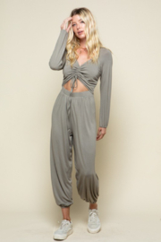 Style Rack Jogger Jumpsuit W/ Drawstring Front - Front cropped
