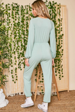 Peach Love California Jogger Jumpsuit with Drawstring Front - Alternate List Image