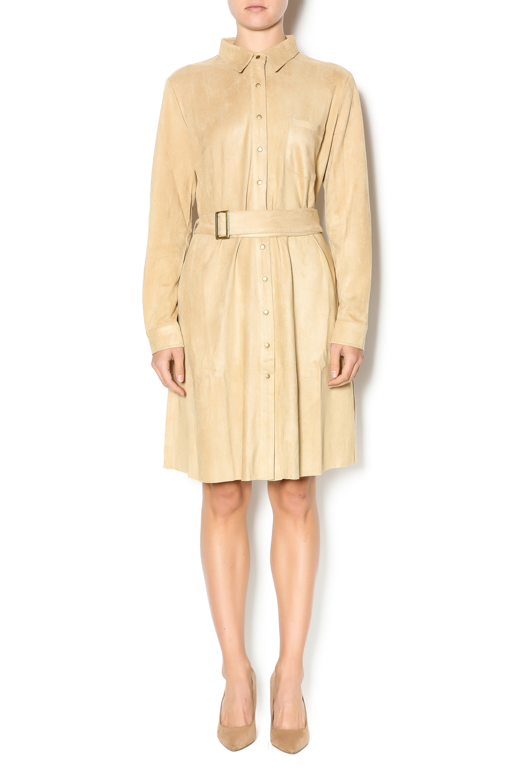 Joh Apparel Faux Suede Shirtdress - Front Full Image