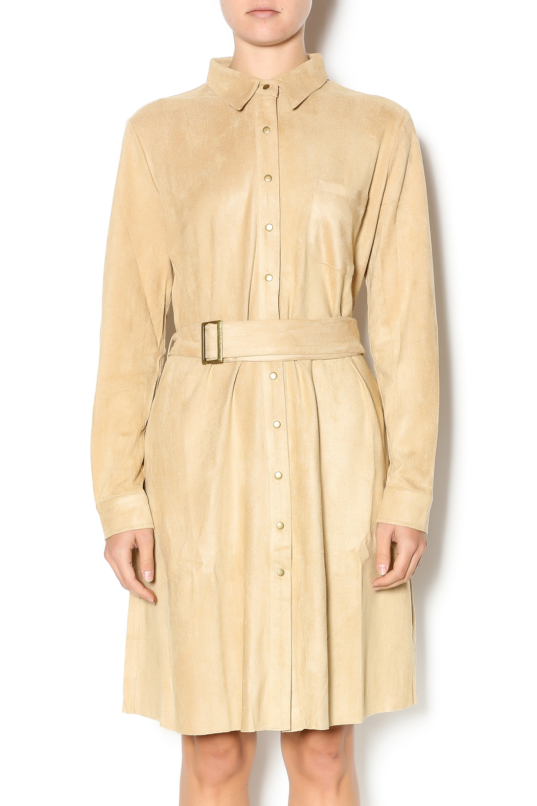 Joh Apparel Faux Suede Shirtdress - Back Cropped Image