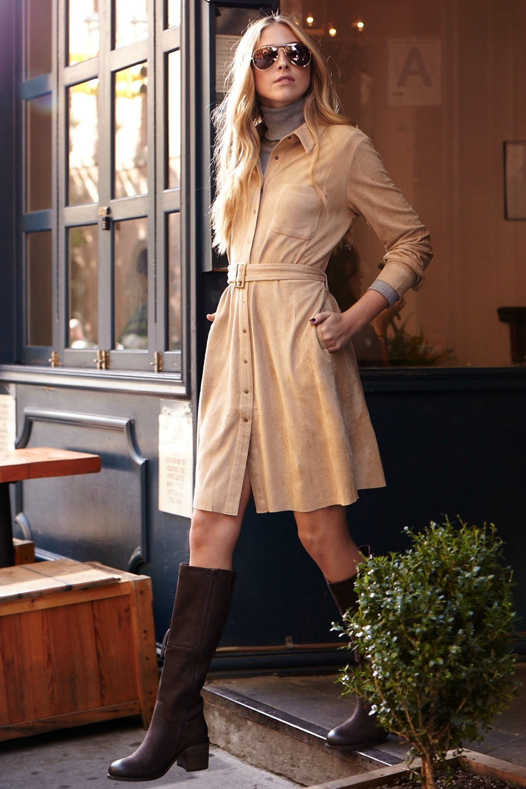 Joh Apparel Faux Suede Shirtdress - Main Image