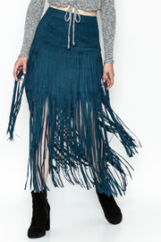 Joh Apparel Suede Fringe Skirt - Product Mini Image